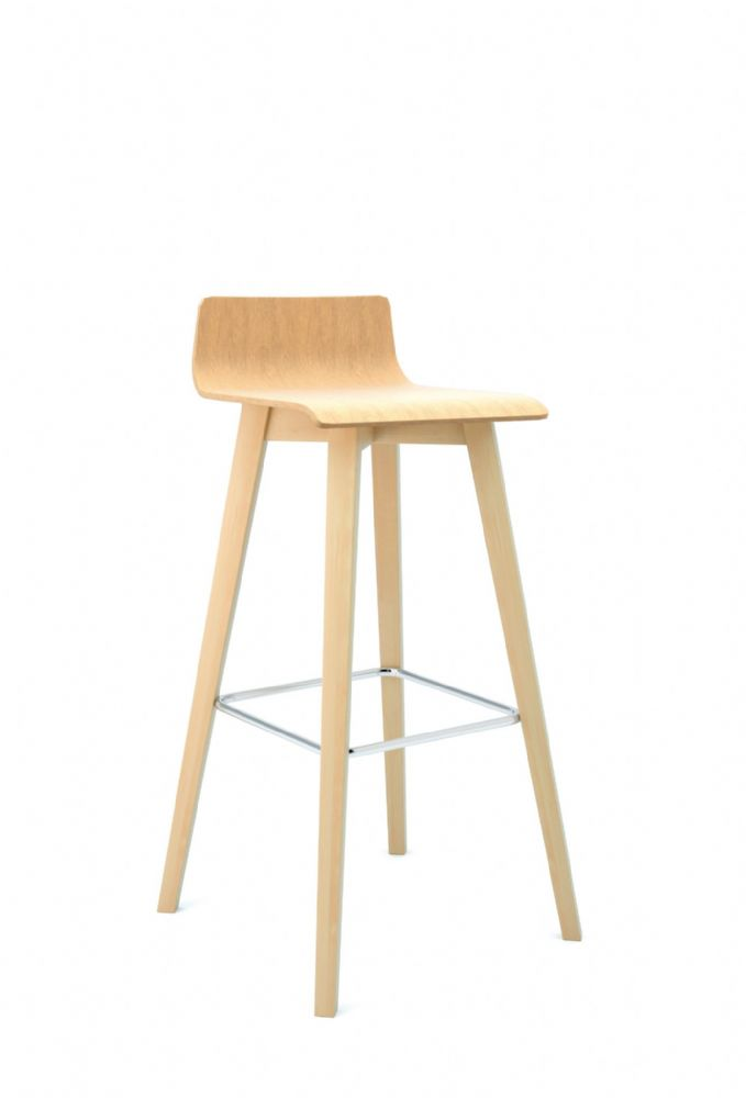 Pledge Bjorn High Bistro Chair With Wooden Finish And 4 Wooden Legs